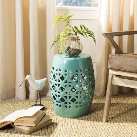 SAFAVIEH Paradise Tranquility Light Blue Ceramic Decorative Garden Stool
