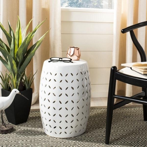 Safavieh Paradise Zen White Ceramic Decorative Garden Stool
