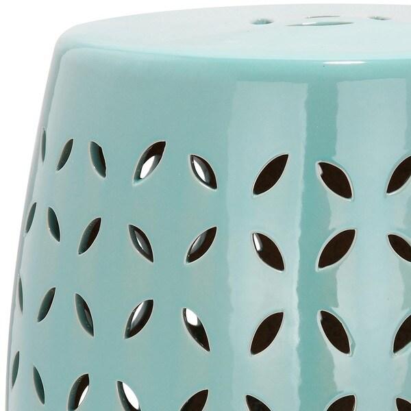 Safavieh Paradise Zen Light Blue Ceramic Garden Stool   Free Shipping Today    Overstock.com   15132295