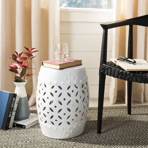 Safavieh Paradise Harmony White Ceramic Decorative Garden Stool