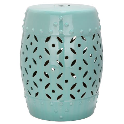 Safavieh Paradise Harmony Light Blue Ceramic Decorative Garden Stool