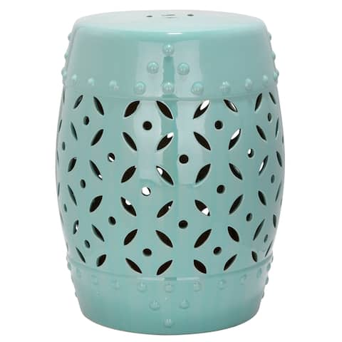 SAFAVIEH Paradise Harmony Light Blue Ceramic Decorative Garden Stool