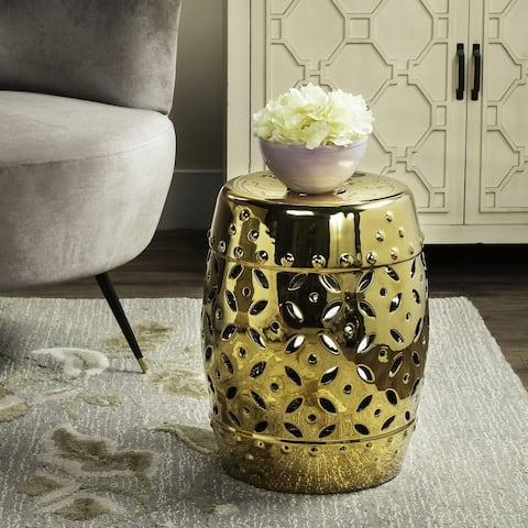 SAFAVIEH Paradise Harmony Gold Ceramic Decorative Garden Stool