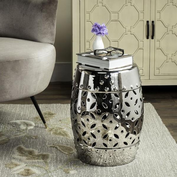 safavieh paradise harmony silver ceramic garden stool