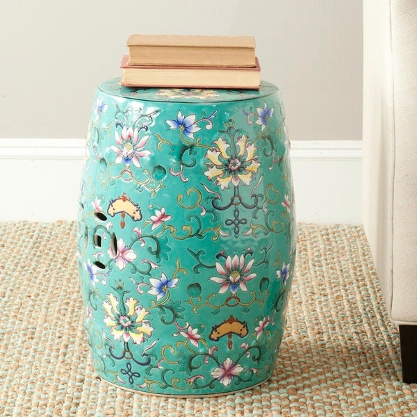 Safavieh Paradise Finds Blue Ceramic Garden Stool Free