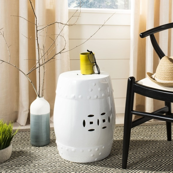 "Safavieh Paradise Treasures White Ceramic Garden Stool - 13"" x 13"" x 18"""