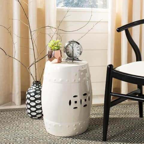 Safavieh Paradise Treasures Ivory Cream Ceramic Decorative Garden Stool