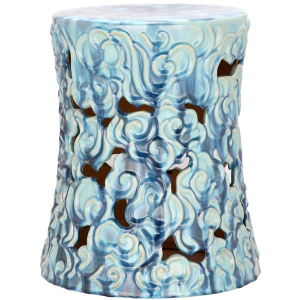Safavieh Ocean Cloud Blue Ceramic Garden Stool