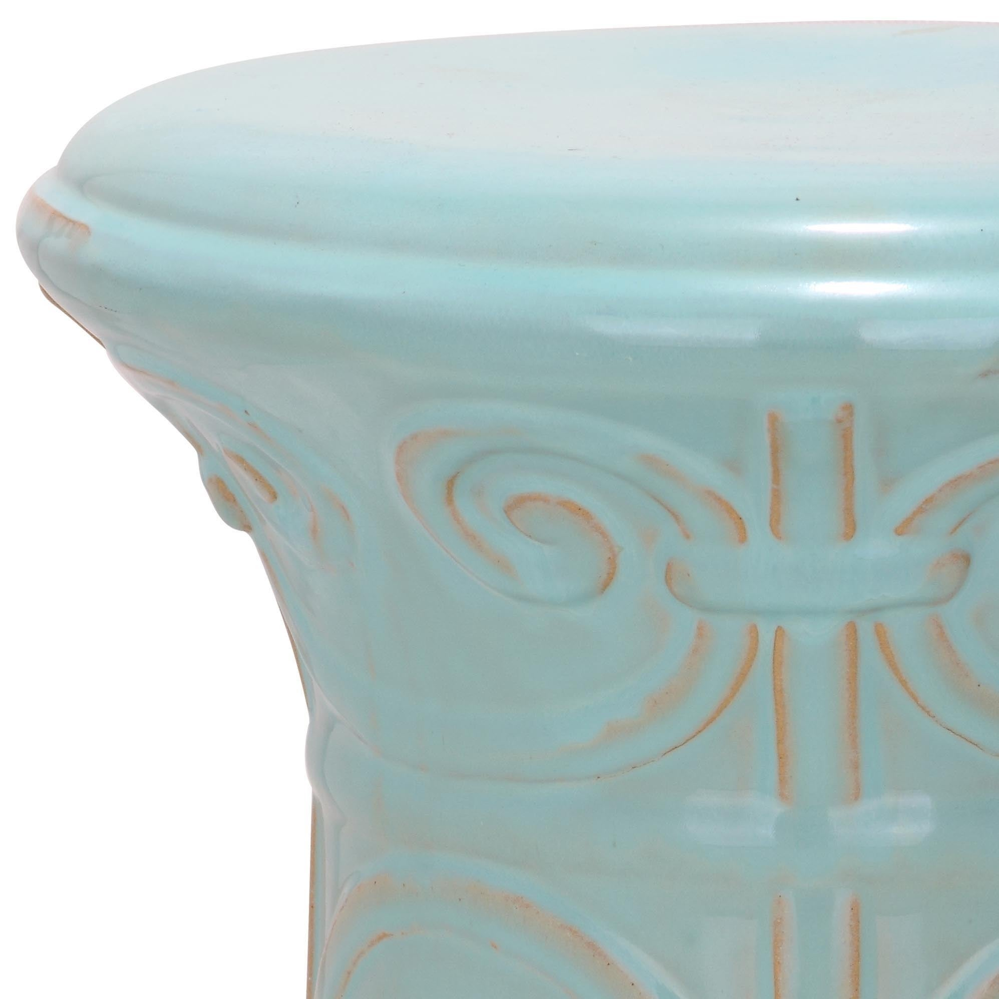 Super Safavieh Light Aqua Imperial Scroll Ceramic Garden Stool 12 3 X 12 3 X 15 5 Andrewgaddart Wooden Chair Designs For Living Room Andrewgaddartcom