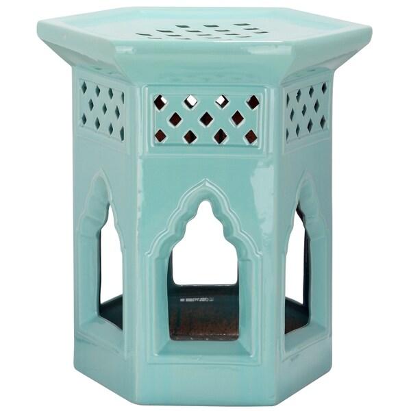 Safavieh Paradise Garden Light Blue Ceramic Garden Stool