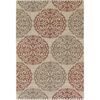 Five Seasons Montecito Cream/ Coral Red Rug (7'6 x 10'9)
