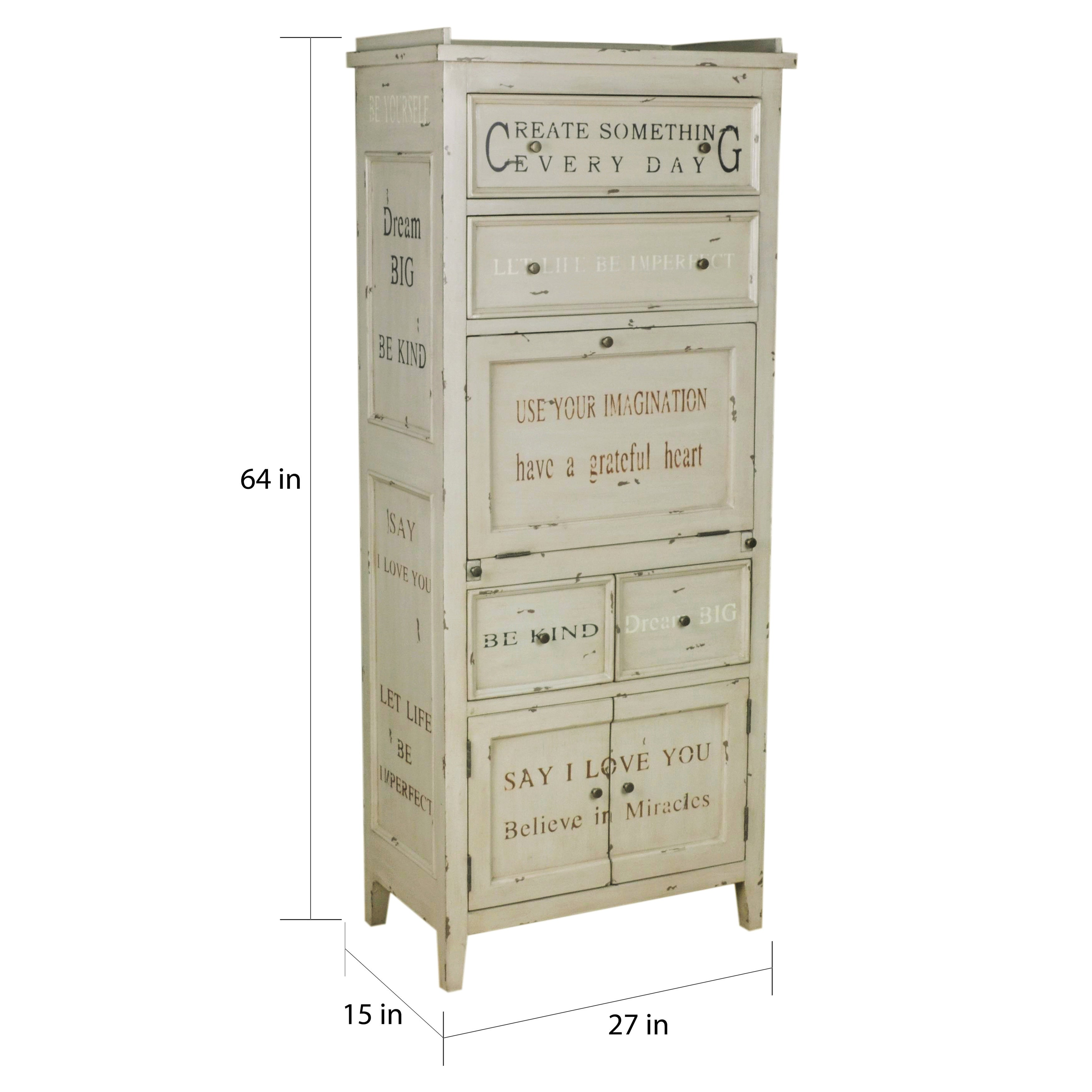 Hand Painted Distressed Antique Cream Finish Accent Storage Cabinet 5 X 27 64