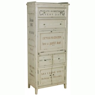 Hand-painted Distressed Antique Cream Finish Accent Storage Cabinet
