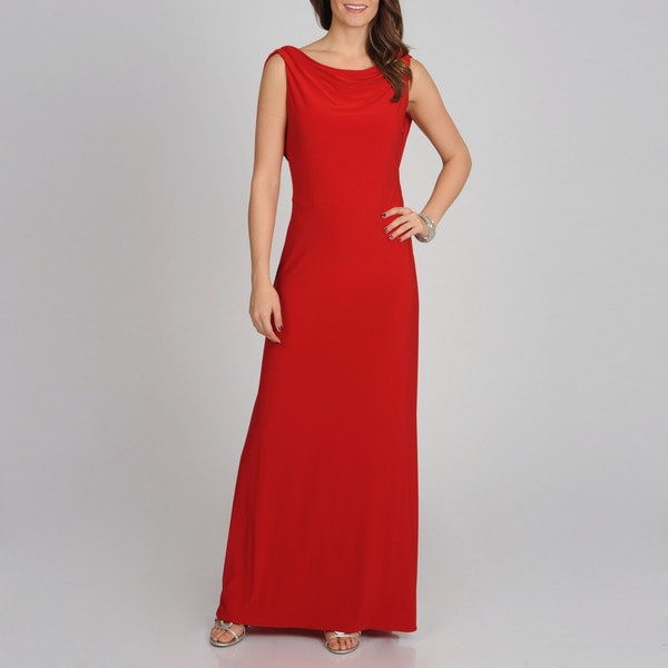 NW Nightway Women's Red Draped Back Gown