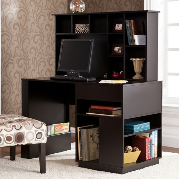 Adami Black Desk with Hutch Set