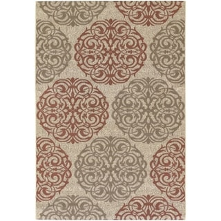 Couristan Five Seasons Montecito/Cream-Coral Red Indoor/Outdoor Rug - 3'11 x 5'6