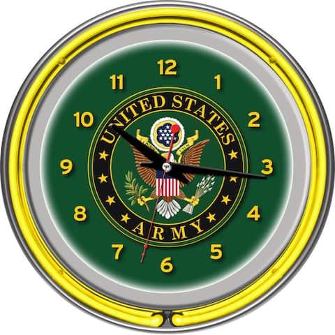 U.S. Army Symbol Chrome Double Ring Neon Clock