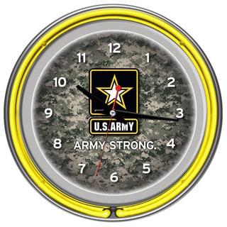U.S. Army Digital Camo Chrome Double Ring Neon Clock