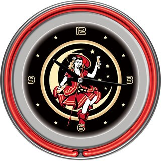 Miller High Life 'Vintage Girl in the Moon' 14-inch Neon Clock