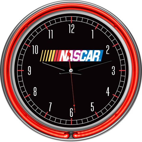 NASCAR Chrome Double Ring Neon Clock - Red/Silver/White