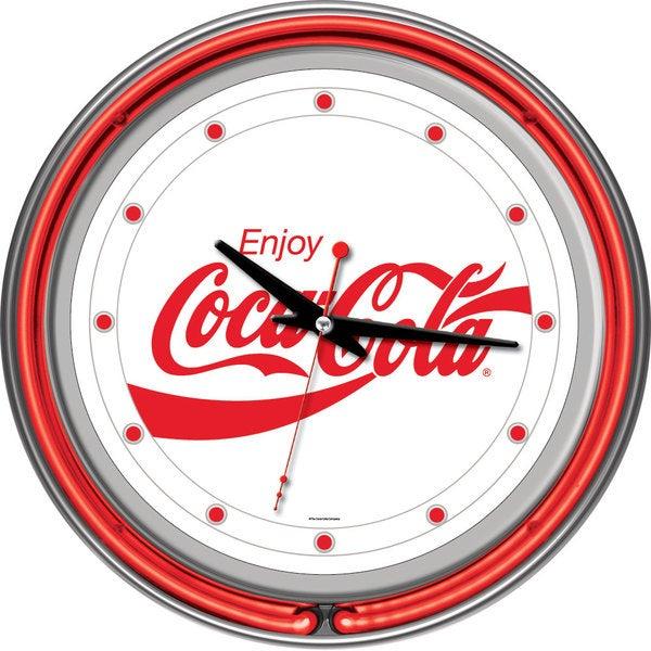 Enjoy Coke White Neon Clock