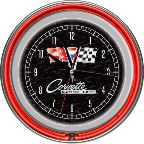 Corvette C2 Black Chrome Double Ring Neon Clock - White
