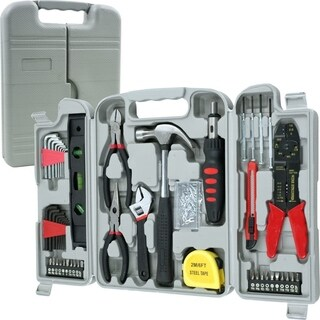 Household Hand Tools, 130 Piece Tool Set by Stalwart, Set Includes  Hammer, Wrench Set, Screwdriver Set, Pliers