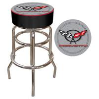 Corvette Silver Padded Bar Stool