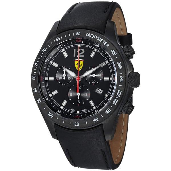 Ferrari Men's Black Calfskin Stainless Steel Watch