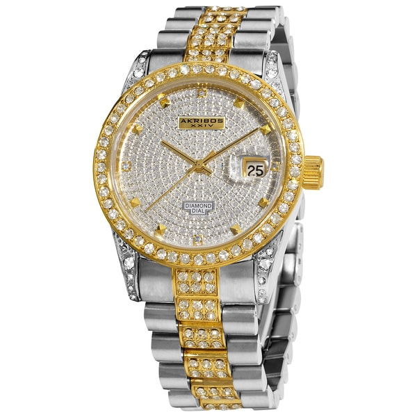 Akribos XXIV Men's Diamond Crystal Quartz Two-Tone Bracelet Watch