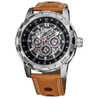 Akribos XXIV Men's Water-resistant Automatic Brown Leather Strap Watch with FREE GIFT