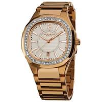 Akribos XXIV Women's Rose-Tone Swiss Quartz Stainless-Steel Crystal Bracelet Watch - WHITE/silver