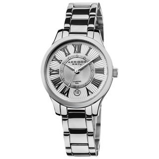 Akribos XXIV Women's Stainless Steel Diamond Silver-Tone Bracelet Quartz Watch