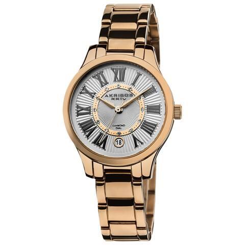 Akribos XXIV Women's Rose-Tone Stainless-Steel Diamond Bracelet Watch - black