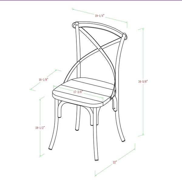 Carbon Loft Witten Industrial X-Back Dining Chairs, Set of 2