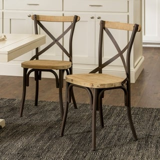 urban reclaimed solid wood dining chairs set of 2