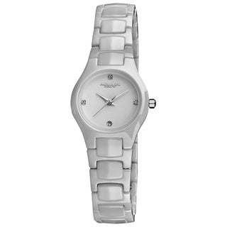 Akribos XXIV Women's Slim Ceramic Quartz White Bracelet Watch - Silver