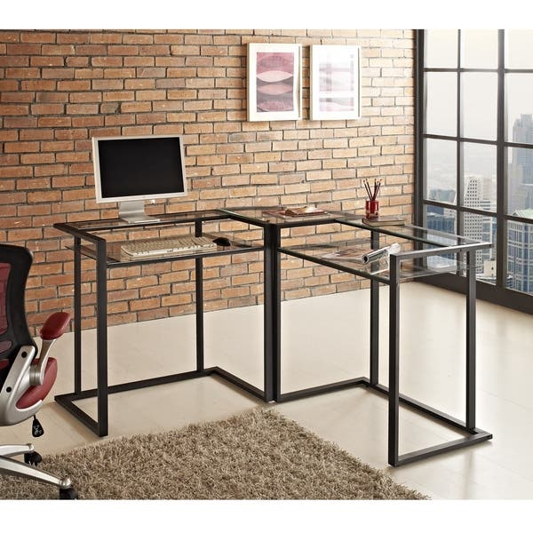 Shop Metal and Glass Corner Computer Desk - Free Shipping ...