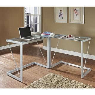 Silver Metal Glass Cable Frame Corner Computer Desk