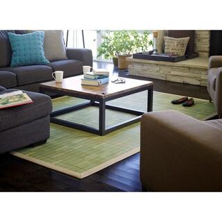 Jani Citroen Green Bamboo Rug with Tan Border (6' x 9')