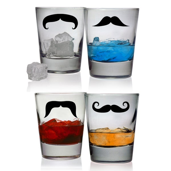 Moustache Double Old Fashioned Glasses, 13.25-oz (Set of 4)