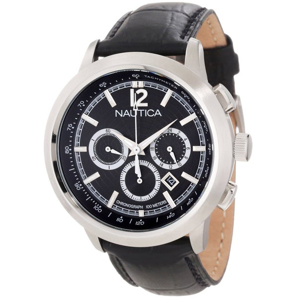 Nautica Men's Black Crocodile Leather Watch Quartz Watch