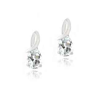 Glitzy Rocks Sterling Silver White Topaz Infinity Teardrop Earrings