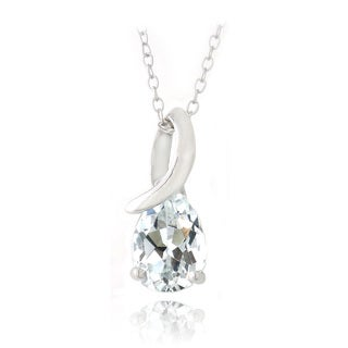 Glitzy Rocks Sterling Silver White Topaz Infinity Teardrop Necklace