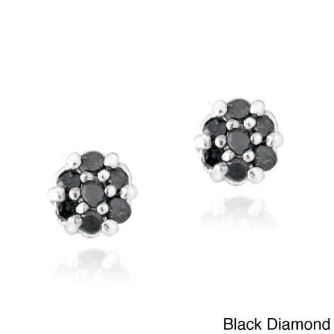 DB Designs Sterling Silver 1/6ct TDW Diamond Flower Stud Earrings