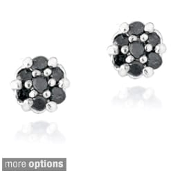 DB Designs Sterling Silver 1/6ct TDW Diamond Flower Stud Earrings