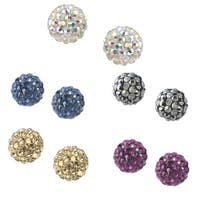Icz Stonez Sterling Silver Crystal Cluster Fireball Stud Earrings