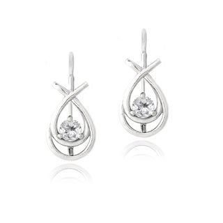 Glitzy Rocks Sterling Silver White Topaz Twist Leverback Earrings
