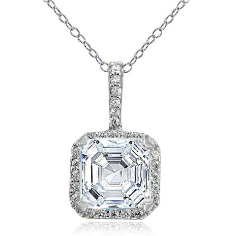 Icz Stonez Sterling Silver 3 3/4ct TGW Cubic Zirconia Square Necklace