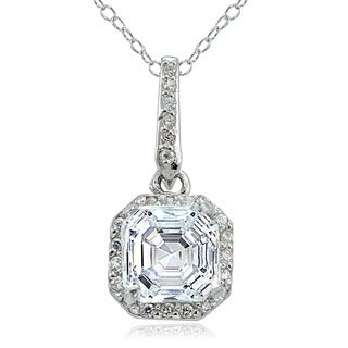 Icz Stonez Sterling Silver 3 5/8ct TGW Cubic Zirconia Square Necklace